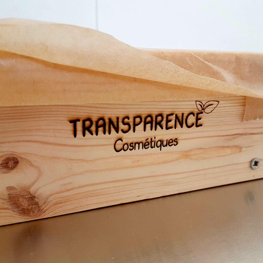 pyrogravure logo Transparence Cosmétiques